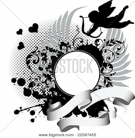 Grunge background with Cupid. Vector illustration.
