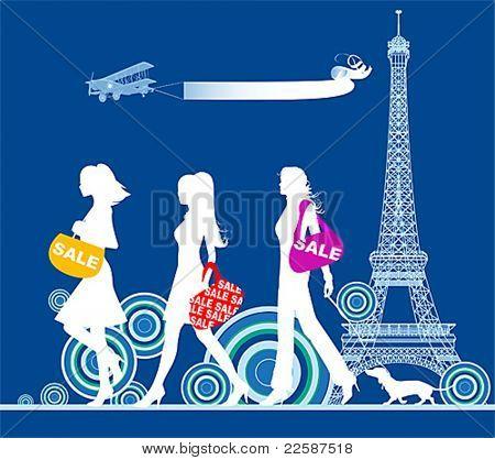 Shopping girls, Paris, vector illustration.