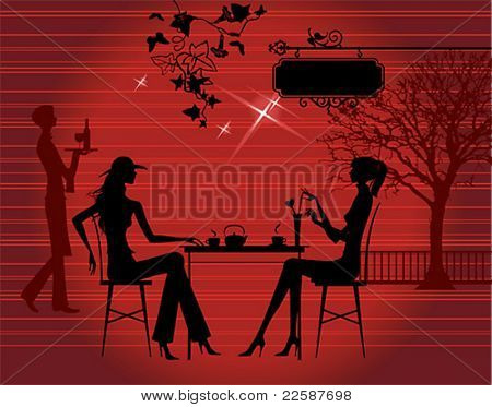 Silhouette of the couple in the cafe, vector illustration