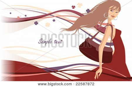 Summer, shopping girl, vector illustration
