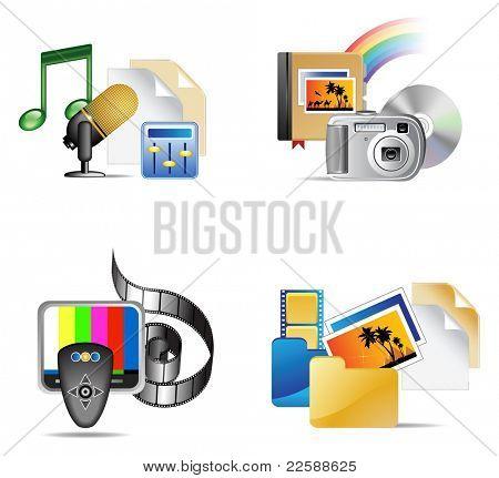 Conjunto de ícone internet multimédia, ilustração