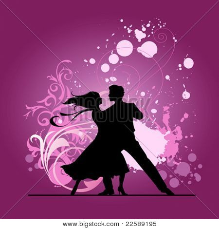 Ballroom dancers. All elements and textures are individual objects. Vector illustration scale to any size.
