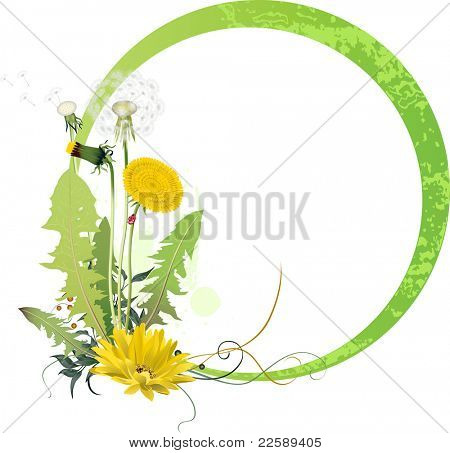 Background with dandelion. Raster version of vector illustration.