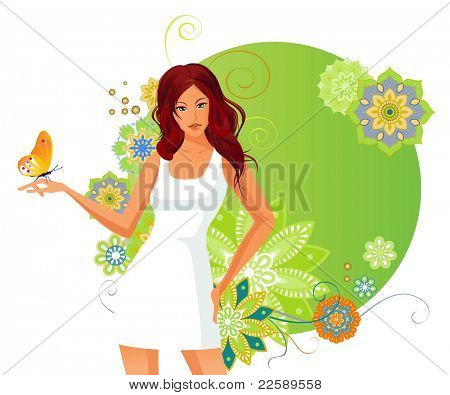 Girl and dragonfly. Raster version of vector illustration.
