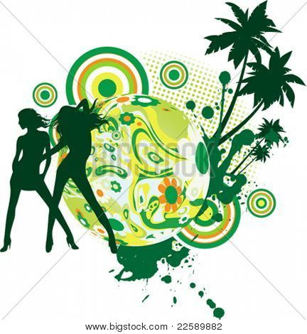 Party time at the beach. All elements and textures are individual objects. Vector illustration scale to any size.