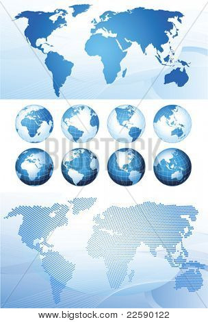 Set with global series and map background, vector illustration. Base map generated using map data from the public domain. (www.diva-gis.org)