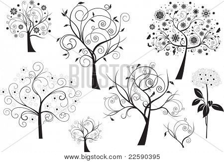 Set of abstract design floral elements. Raster version of vector illustration.
