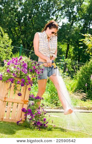 Summer Garden Smiling Woman Watering Hose Flower