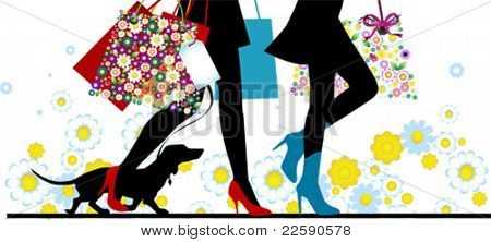 Woman sexy legs with bags. Shopping. All elements and textures are individual objects. Vector illustration scale to any size.