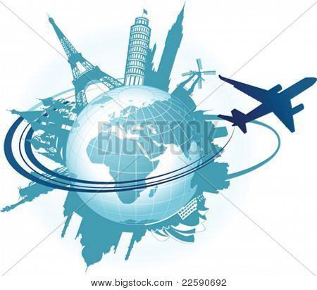 Travel background. All elements and textures are individual objects. Vector illustration scale to any size.