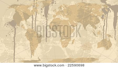 A Grunge, Rustic World Map. Raster version of vector illustration.