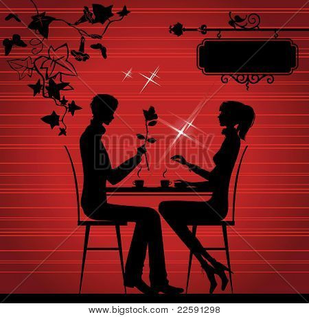 Silhouette of the couple in the cafe, raster version of vector illustration.