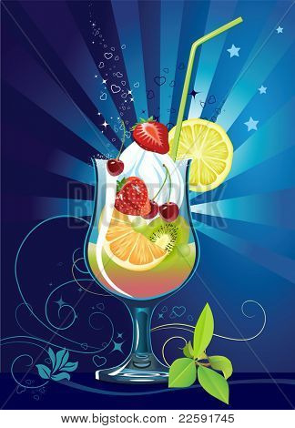 Cocktail with fruits. Raster version of vector illustration.