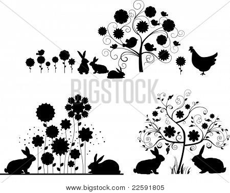 Set of Easter silhouettes. Raster version of vector illustration.