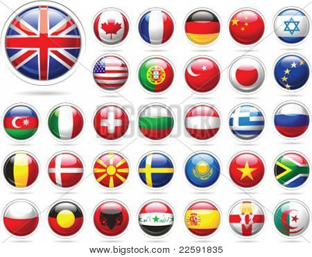Set of flags. Glossy buttons. All elements and textures are individual objects. Vector illustration scale to any size.