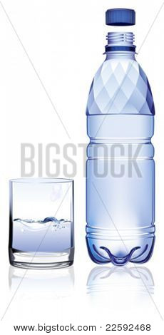Water bottle. All elements and textures are individual objects. Vector illustration scale to any size.