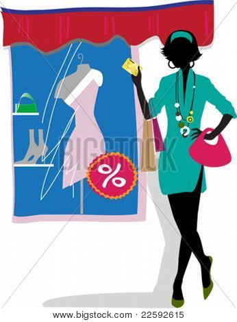 Glam shopping girl. All elements and textures are individual objects. Vector illustration scale to any size.