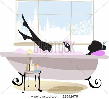Woman in bathtub. All elements and textures are individual objects. Vector illustration scale to any size.