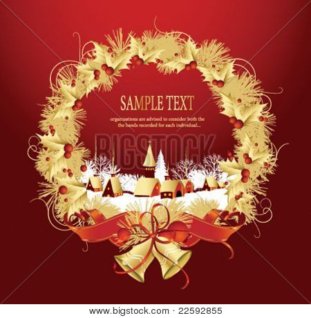 Christmas decoration with a town in red color. All elements and textures are individual objects. Vector illustration scale to any size.