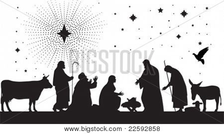 Star of Bethlehem. All elements and textures are individual objects. Vector illustration scale to any size.