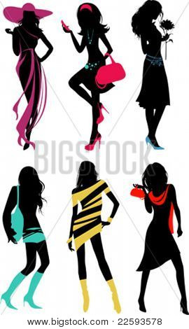 Glam shopping girls. All elements and textures are individual objects. Vector illustration scale to any size.