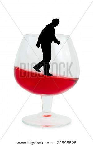Wine Glass And Alcoholic Man