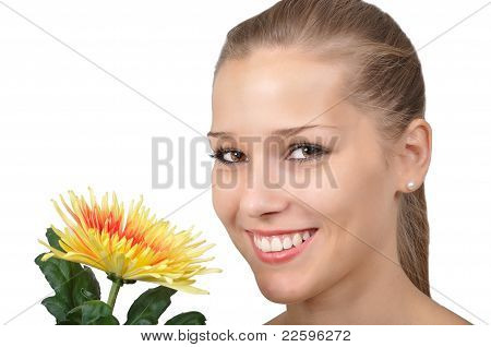 Young woman with yellow red flower