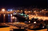 stock photo of piraeus  - Image shows a part of the port of Piraeus in Greece captured at night - JPG