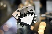 Object Printed On Metal 3d Printer. A Model Created In A Laser Sintering Machine Close-up. Dmls, Slm poster