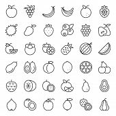 Cute Fruit Outline Icon Set, Such As Orange, Kiwi, Coconut, Banana, Papaya, Peach, Tropical Fruits poster