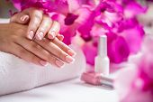 Repairing Old Gel Nails With A Nail Grinder In Nail Studio - Salon. Nails Manicure. poster