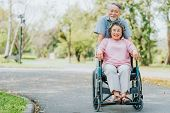 Happy Smile Asian Senior Woman In A Wheelchair Relaxing And Walking With Her Husband Outside At The  poster