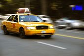 pic of new york night  - A cab on the streets of New York City with motion effects - JPG