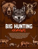 Wild Animal Poster For Open Hunting Season Template. Deer, Bear And Wolf, Duck, Boar, Elk And Hare F poster