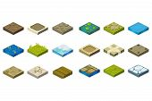 Cartoon Set Of Isometric Landscape Tiles With Different Surfaces. Grass, Ground, Water, Bog, Stone,  poster