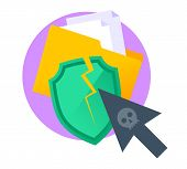 Hackers Attack The Computer And Stole Confidential Data. Flat Vector Illustration Of Folder With Sec poster