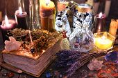 Witch Ritual Collection With Old Spelling Book, Lavender, Bottles, Herbs And Magic Objects. Occult,  poster