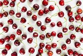 Background Of Cherries. Ripe Cherry On A White Background. Cherries With Copy Space For Text. Top Vi poster