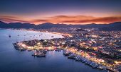 Aerial View Of Boats And Beautiful City At Night In Marmaris poster