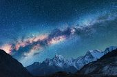 Space. Night Landscapw With Milky Way And Mountains poster