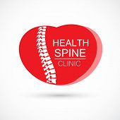 Spine Heart Logo Clinic Medicine Chiropractic Backbone Health Illustration poster
