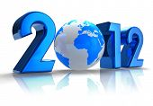 image of new years  - Creative 2012 New Year concept with blue Earth globe on white reflective background - JPG