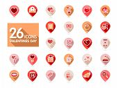 Valentine Day Set Pin Map Icons. Vector Illustration, Romance Elements. Map Pointer. Sticker, Badge. poster