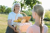 Heavy Basket. Delighted Positive Elderly Woman Looking At Her Granddaughter And Smiling While Helpin poster