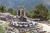 foto of oracle  - Temple of Athena pronoia at Delphi oracle archaeological site in Greece - JPG