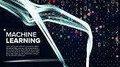 Machine Learning Background Vector. Analytics Cloud. Machine Information Technologies. Software Illu poster