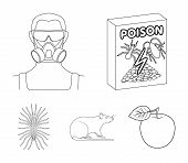 Staff, Packing With Poison And Pests Outline Icons In Set Collection For Design.pest Control Service poster