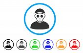 Blind Man Rounded Icon. Style Is A Flat Blind Man Grey Symbol Inside Light Blue Circle With Black, G poster