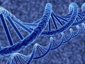 picture of double helix  - 3d render of dna on blue background - JPG