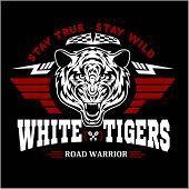Tigers Custom Motors Club T-shirt Vector Logo On Dark Background. Premium Quality Bikers Band Logoty poster